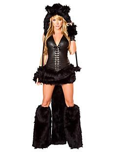 billige Voksenkostymer-Nisse drakter Ulv Kvinner Hatter Kostume Dame Voksne Halloween Jul Jul Halloween Karneval Festival / høytid Drakter Svart Dyr