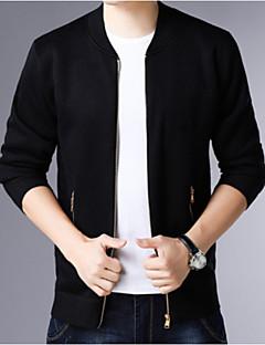 tanie Męskie swetry i swetry rozpinane-Męskie Codzienny Podstawowy Solidne kolory Długi rękaw Regularny Sweter rozpinany Czarny / Granatowy / Wino XL / XXL / XXXL