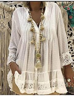 cheap Buyers' Collection-Women's Beach Blouses / Boho Plus Size Lace T-shirt - Solid Color Lace V Neck
