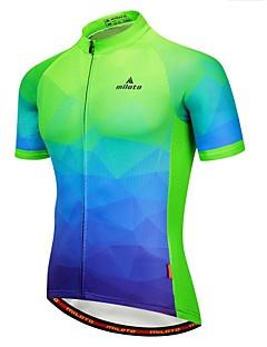 billige Sykkelklær-Miloto Herre Kortermet Sykkeljersey - Grønn / Gul Sykkel Jersey 100% Polyester / Elastisk