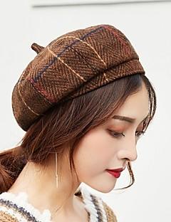billige Hatter til damer-Dame Aktiv / Grunnleggende Beanie Hatt / Beret / Sixpence Ruter