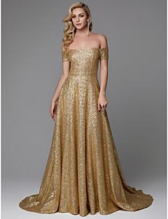 billiga Aftonklänningar-A-linje Off shoulder Hovsläp Paljetter Glitter och glans Formell kväll Klänning med Paljett av TS Couture®