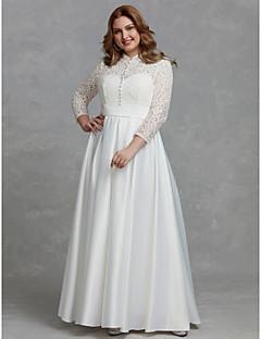 billiga Plusstorlek brudklänningar-A-linje Hög hals Golvlång Spets Bröllopsklänningar tillverkade med Knappar / Spets av LAN TING BRIDE®