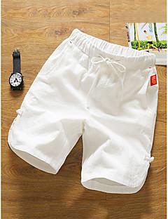 billige Underdele til mænd-Herre Normal Bomuld / Hør Chinos / Shorts Bukser Ensfarvet / Sommer