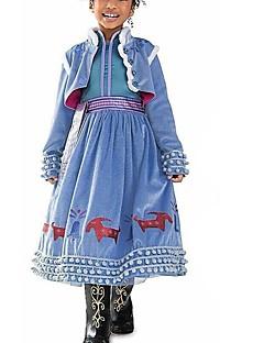 billige Halloweenkostymer-Elsa Kjoler Party-kostyme Flapper Dress Julkjole Jente Barne Prinsesse Lolita Halloween Jul Halloween Barnas Dag Festival / høytid Drakter Blå Lapper Nyhet