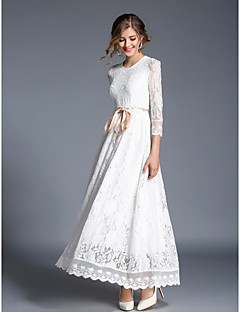 cheap Designers Collections-Women's Lace Daily Chinoiserie Maxi Slim Swing Dress - Solid Colored Lace Spring White L XL XXL