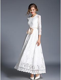 رخيصةأون مجموعات المصممين-فستان نسائي متموج النمط الصيني دانتيل طويل للأرض نحيل لون سادة