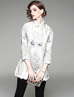 billige T-shirt-Høj krave Dame - Geometrisk Blonder / Trykt mønster T-shirt
