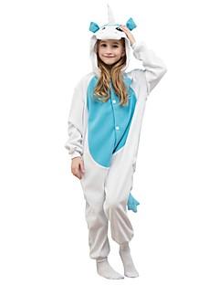 billige Kigurumi-Enhjørning Onesie-pysjamas Polar Fleece Blå Cosplay Til Gutter og jenter Pysjamas med dyremotiv Tegnefilm Festival / høytid kostymer