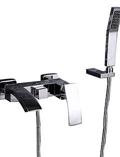 billige Foss-Badekarskran - Moderne Krom Vægmonteret Keramisk Ventil Bath Shower Mixer Taps / Enkelt håndtak tre hull