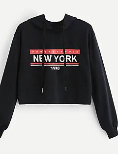 baratos Moletons com Capuz e Sem Capuz Femininos-hoodie de manga comprida feminina - gola redonda geométrica s azul