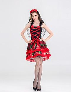 billige Halloweenkostymer-Trollmann / heks Dame Voksen Voksne Halloween Jul Jul Halloween Karneval Festival / høytid Drakter Rød+Svart Ensfarget Jul