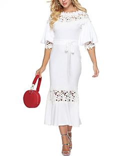 baratos Vestidos de Festa-Mulheres Básico Bainha Vestido - Renda, Sólido Médio