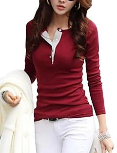 tanie AW 18 Trends-T-shirt Damskie Casual / Moda miejska Bawełna Solidne kolory / Wiosna / Jesień / Zima