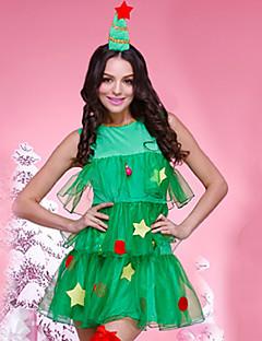 billige julen Kostymer-Kjoler Julkjole Santa Clothe Dame Voksne Kjoler Jul Jul Nytt År Festival / høytid Tyll Polyester Drakter Grønn Jul