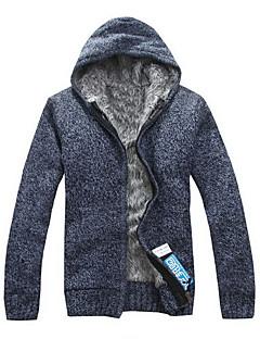 tanie Męskie swetry i swetry rozpinane-Męskie Codzienny Aktywny / Podstawowy Solidne kolory Długi rękaw Regularny Sweter rozpinany, Kaptur Jesień / Zima Fioletowy / Jasnoniebieski / Jasnoszary L / XL / XXL