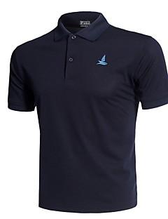 billige Løbetøj-Herre Dyb V Løbe-T-shirt - Navyblå, Grøn, Blå Sport Trykt mønster T-Shirt Løb, Fitness, Træningscenter Kortærmet Sportstøj Åndbart, Hurtigtørrende, Blød Mikroelastisk