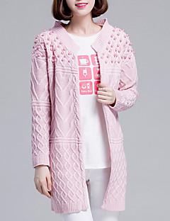 tanie Swetry damskie-Damskie Codzienny Moda miejska Solidne kolory Długi rękaw Długie Sweter rozpinany Rumiany róż / Beżowy / Szary Jeden rozmiar