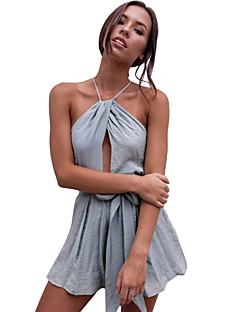 Χαμηλού Κόστους Γυναικείες μακριές και μίνι ολόσωμες φόρμες-Γυναικεία Καθημερινά Κομψό στυλ street Γκρίζο Ολόσωμα, Μονόχρωμο M L XL Αμάνικο
