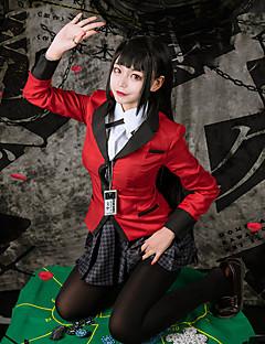 """billige Anime Kostymer-Inspirert av Kakegurui Yumeko Jabami Anime  """"Cosplay-kostymer"""" Cosplay Klær Hundetannmønster Langermet Halsklut / Skjørt / Frakk Til Dame"""