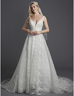 billiga Brudklänningar-A-linje Dunkel halsringning Hovsläp Spets / Tyll Bröllopsklänningar tillverkade med Bård / Spets av LAN TING BRIDE®