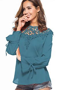 billige Bluse-Dame - Ensfarvet / Geometrisk Net Bluse