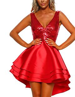 tanie Sukienki-Damskie Podstawowy Pochwa Sukienka - Solidne kolory, Cekiny Asymetryczna