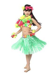 billige Halloweenkostymer-Hawaiisk Hula danser Hawaiian Kostymer Gressskjørt Jente Voksne Etnisk Vintage Inspireret Jul Halloween Karneval Festival / høytid Hør / Bomulds Blanding Polyester Drakter Rød / Gul / Grønn Blomstret