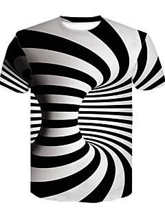 お買い得  3/19-男性用 プリント Tシャツ ベーシック / ストリートファッション カラーブロック / 3D ブラック&ホワイト