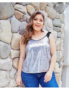 billige Bluse-Kvinders asiatiske størrelse slank bluse - solid farvet rund hals