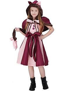 billige Halloweenkostymer-Alice in Wonderland Cosplay Kostumer Jente Barne Kjoler Jul Halloween Karneval Festival / høytid Ull Polyester Drakter Rosa Katt