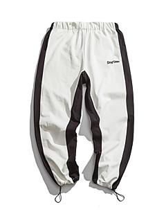billige Herrebukser og -shorts-menns asiatiske størrelse slanke chinos / joggebukse bukser - fargeblokk hvit