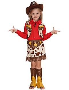 billige Barnekostymer-West West Cowboy Cowboy Kostymer Jente Barne Drakter Aktiv Jul Halloween Karneval Festival / høytid Bomull Polyester Drakter Rød Stjerner