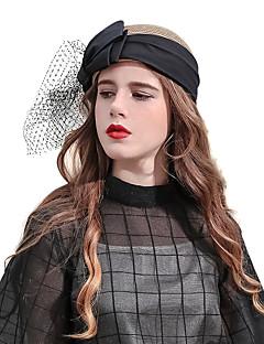 billiga Lolitamode-Elizabeth Den underbara fru Maisel Slöjsmide Felt hattar hatt damer Retro / vintage Dam Kaffe Rosett Keps Tyll Linne / Bomull Kostymer