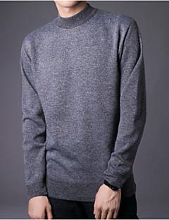 baratos Suéteres & Cardigans Masculinos-Homens Diário Básico Sólido Manga Longa Padrão Pulôver, Decote Redondo Azul / Cinzento / Cinza Claro XL / XXL / XXXL