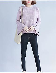 tanie Swetry damskie-Damskie Codzienny Solidne kolory Długi rękaw Regularny Pulower Czarny / Rumiany róż Jeden rozmiar