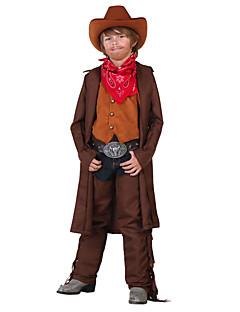 billige Barnekostymer-West West Cowboy Cowboy Kostymer Gutt Barne Drakter Aktiv Jul Halloween Karneval Festival / høytid Polyester Drakter kaffe Ensfarget