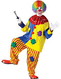 billige Halloween- og karnevalkostymer-Burlesk / Klovn Party-kostyme Herre Dame Voksne Artig & Underspillet Halloween Jul Halloween Karneval Festival / høytid Polyester Drakter Gul Lapper