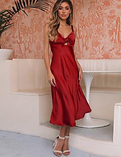 Недорогие Платья-Жен. Элегантный стиль Оболочка Платье - Однотонный Средней длины