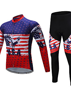 TELEYI Men s Long Sleeve Cycling Jersey with Tights - Red+Blue National  Flag Animal Bike Clothing Suit Fleece Lining Breathable Winter Sports  Polyester ... 75aa213ba