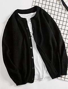 baratos Suéteres de Mulher-Mulheres Diário Sólido Manga Longa Padrão Carregam Preto XL / XXL / XXXL