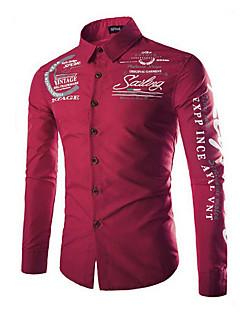 رخيصةأون قمصان رجالي-رجالي قميص قياس كبير أساسي طباعة أحرف / كم طويل / الربيع / الخريف / ياقة مفرودة