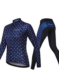 billige Sykkelklær-Realtoo Langermet Sykkeljersey med tights - Mørk Marineblå Sykkel Pustende Spandex Klassisk / Mikroelastisk