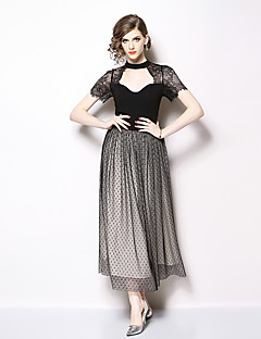 cheap Special Occasion Dresses-A-Line High Neck Ankle Length Chiffon / Lace Dress with Tier / Lace Insert by LAN TING Express