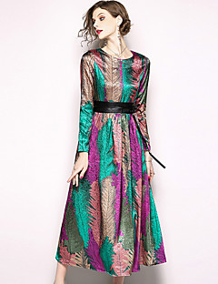 cheap Special Occasion Dresses-A-Line Jewel Neck Ankle Length Jersey Dress with Pattern / Print by LAN TING Express