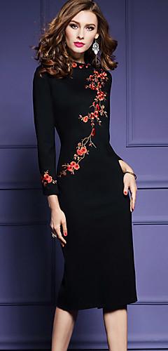 זול -שחור מידי רקום, פרחוני - שמלה צינור מידות גדולות סגנון סיני ליציאה בגדי ריקוד נשים / רזה