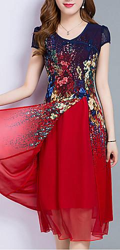 זול -מידי עד הברך שכבות מרובות דפוס, פרחוני - שמלה שיפון מידות גדולות ליציאה בגדי ריקוד נשים
