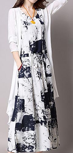 זול -צווארון V מקסי דפוס, גראפי - שמלה טוניקה רזה כותנה מידות גדולות Party בגדי ריקוד נשים
