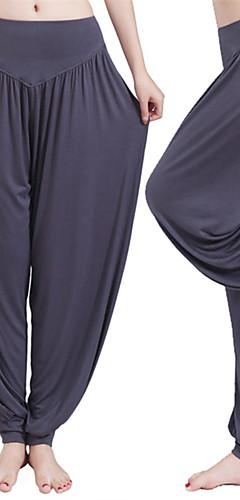 abordables -Femme Sarouel Pantalon de yoga Des sports Couleur unie Modal Spandex Culotte Bouffante Zumba Pilates Danse Grandes Tailles Tenues de Sport Poids Léger Antistatique Doux Anti-transpiration Lisse Haute