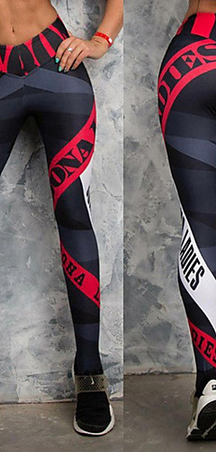 abordables -Femme Pantalon de yoga Des sports Lettre Leggings Bas Zumba Course / Running Entraînement de gym Tenues de Sport Respirable Séchage rapide Compression Butt Lift Preuve de squat Elastique Slim